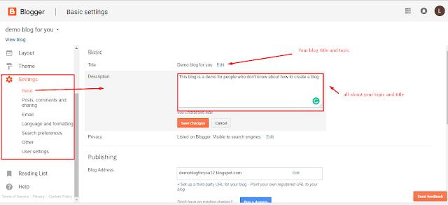 Basic SEO settings for blogger