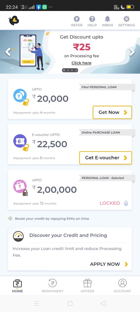 New amount of 20,000 after repaying KREDITBEE LOAN EMI