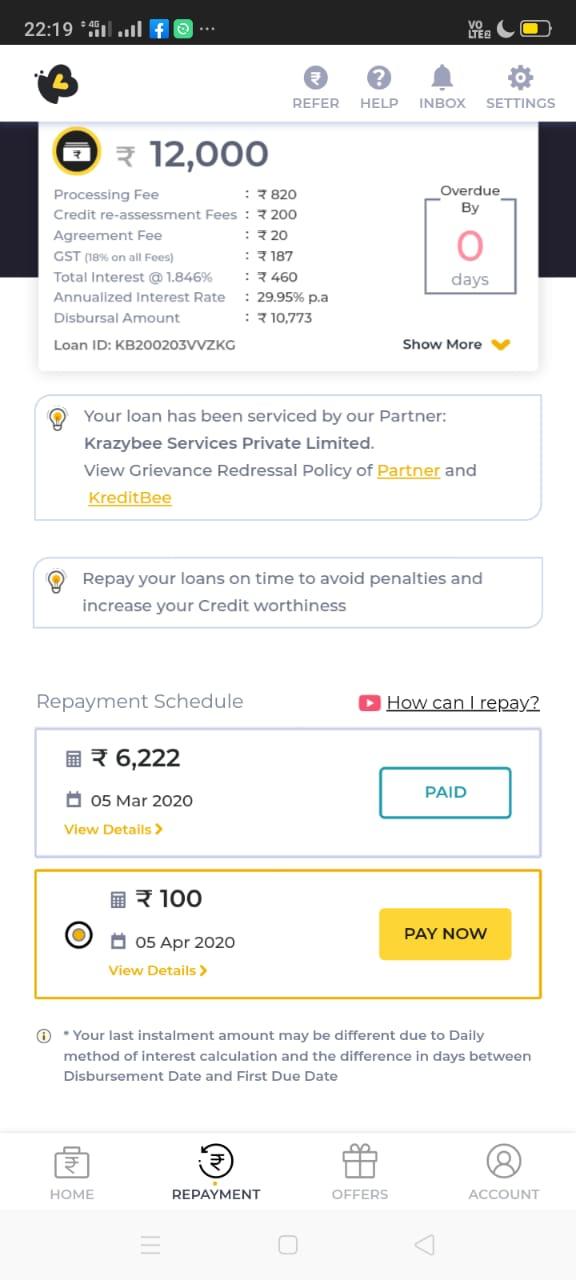 KreditBee EMI Relief Latest update | KreditBee Loan Approval Update | Loan Repayment Updates and EMI Moratorium