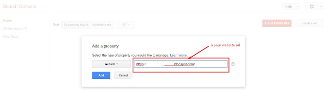 Add a property – click to add your blog address