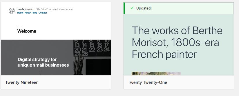 Installed WordPress theme